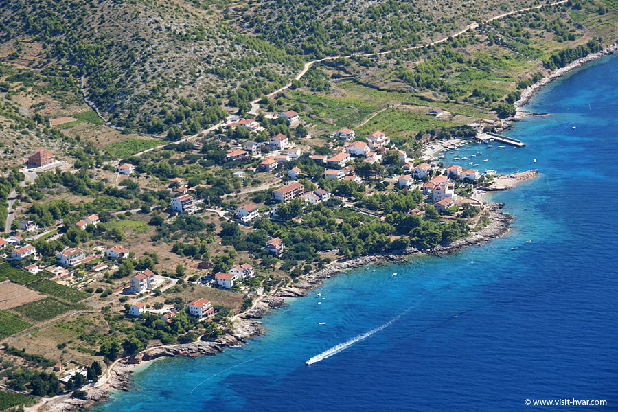 Zavala Island Hvar from the air